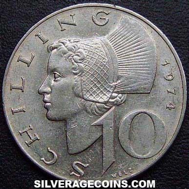 10 Chelines Austriacos de 1974   Silveragecoins