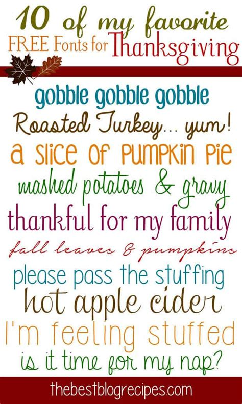 10 FREE Fonts for Thanksgiving | The Best Blog Recipes