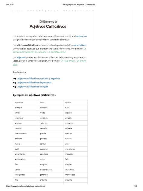 100 Ejemplos de Adjetivos Calificativos   Adjetivo ...