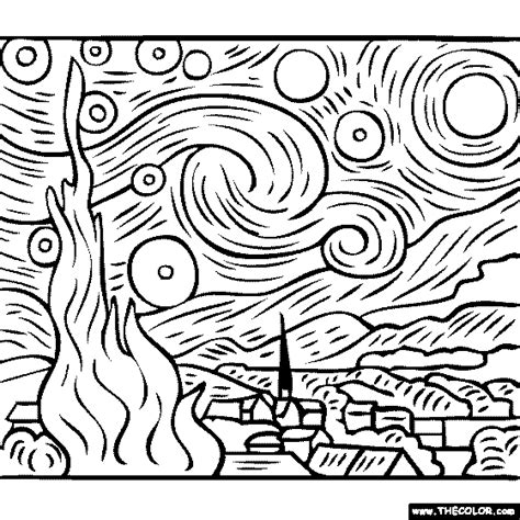 100% free coloring page of Vincent Van Gogh painting ...