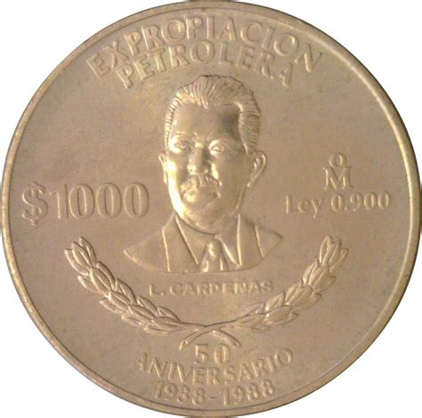 1000 Pesos  50th Anniversary of Nationalization of Oil ...