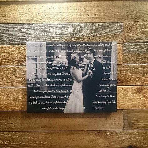 11  x 14  Canvas With Wedding Song Lyrics