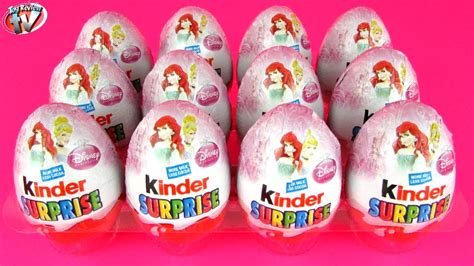 12 Disney Princess Kinder Surprise Eggs Opening Toy Review ...