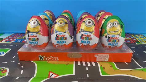 12 Kinder Surprise Eggs MAXI MINIONS Despicable Me   YouTube