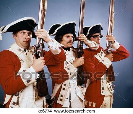 1700s, 1776, británico, soldados, en, uniforme, durante ...