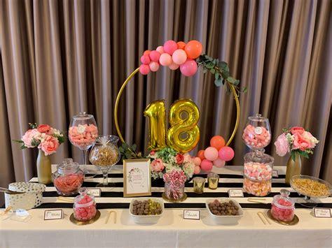 18 CUMPLEAÑOS Candy bar y decoración con globos   La ...