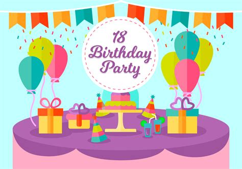18 Years Birthday Party Free Vector Illustration ...