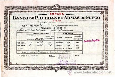1932. certificado del banco de pruebas de armas   Vendido ...
