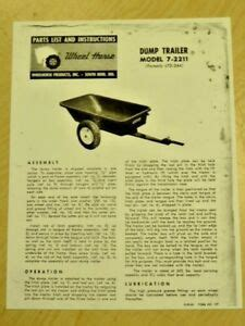 1962 WHEEL HORSE TRACTOR 7 2211 DUMP TRAILER PARTS LIST ...