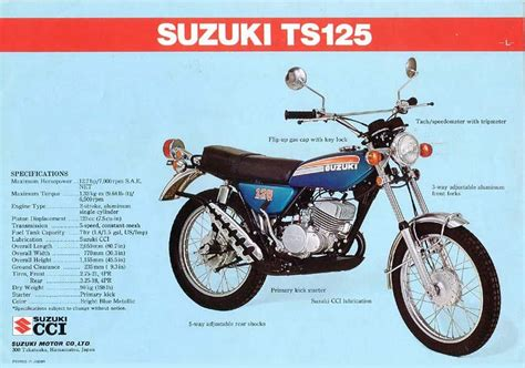 1974 Suzuki TS125l brochure | Suzuki bikes, Suzuki ts125 ...