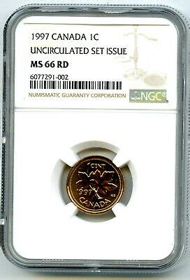 1997 CANADA CENT NGC MS66 RD UNCIRCULATED SET ISSUE COIN ...
