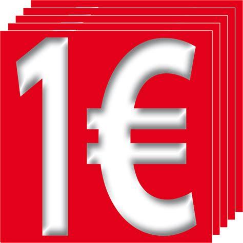 1€ Aufkleber 10cm Sticker 1 Euro Zeichen Symbol Rabatt ...