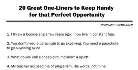 20 great one liners to keep handy for perfect opportunity ...