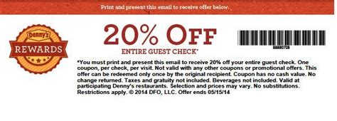 20% off your Entire Check at Denny's Coupon | My favorite ...
