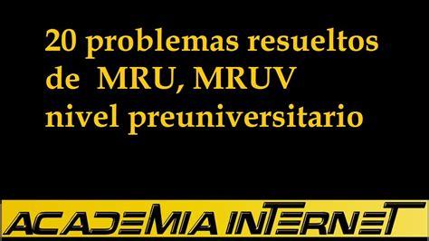 20 problemas resueltos de MRU, MRUV nivel preuniversitario ...