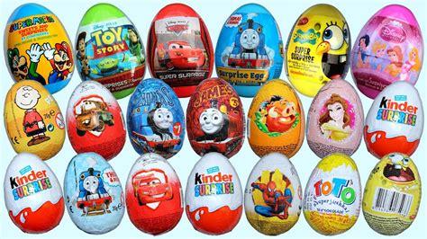 20 Surprise Eggs Kinder Surprise Disney Pixar Cars 2 ...