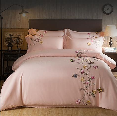 2017 Egypt Cotton pink Butterfly Embroidery Luxury Bedding ...