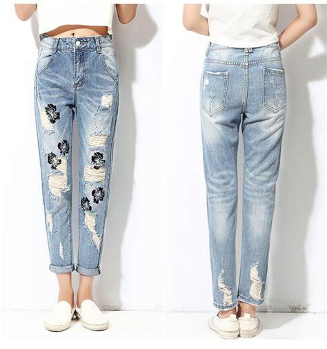 2017 Ladies Jeans Top Design Rose Pattern Ripped Denim ...