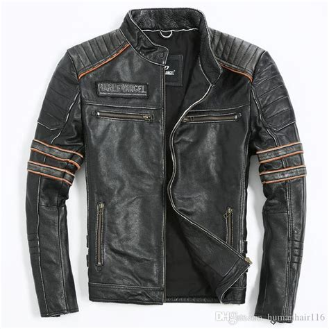 2018 Vintage Black Genuine Leather Mens Jacket Skull ...