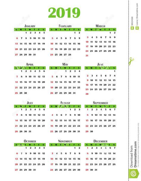 2019 Calendar stock illustration. Illustration of design ...