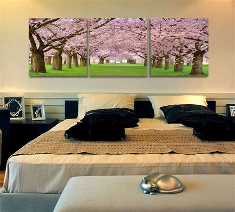 2019 Flower Wall Canvas Paintings Cherry Blossom Wall ...