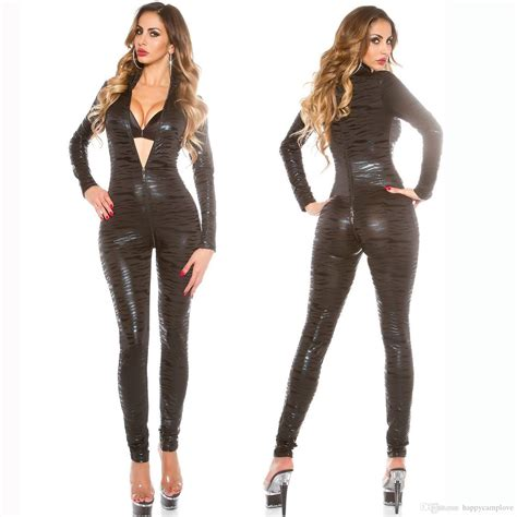 2019 Sexy Lingerie Women Tight Faux Leather Latex Catsuit ...