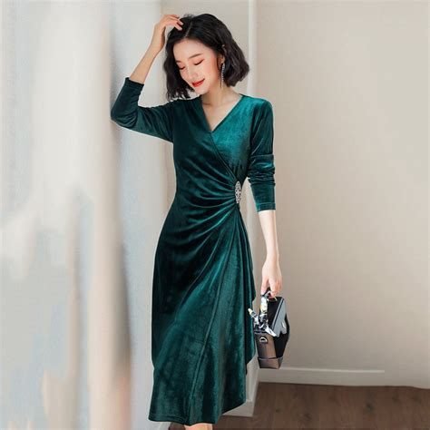 2019 Spring Green Velvet Dress For Women Evening Party ...