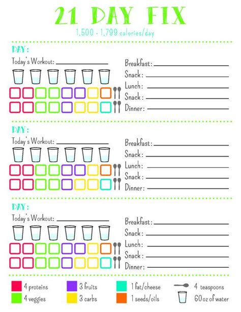 21 Day Fix Tracking Sheet, 1,500 Calorie Bracket Printable ...