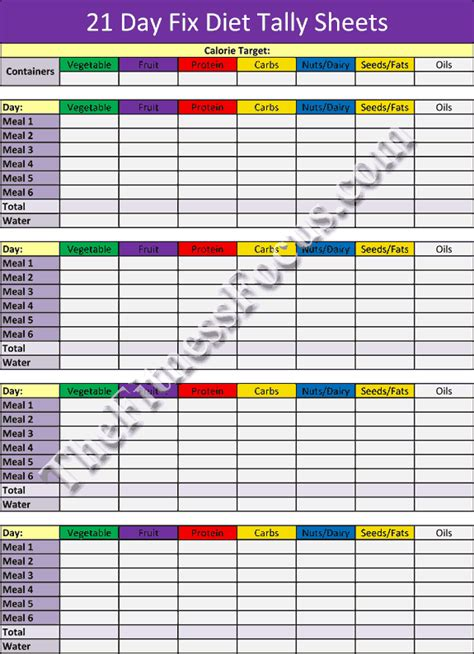 21 Day Fix Workout Schedule & Portion Control Diet Sheets ...