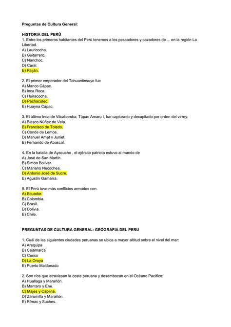23 de Octubre PREGUNTAS CULTURA GENERAL