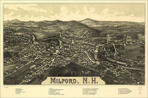 24 x36  Gallery Poster, map of Milford, New hampshire 1886 ...
