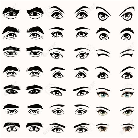 25468541 female and male vector eyes and eyebrows ...