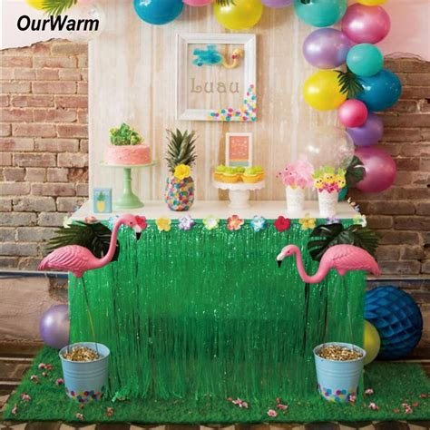 275*75cm Hibiscus Artificial Grass Table Skirt for ...