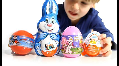 3 Surprise Eggs and 1 Kinder Easter Bunny   YouTube