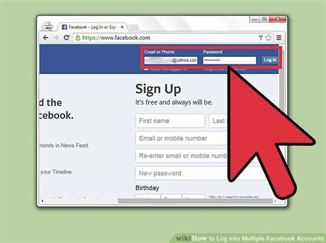 3 Ways to Log into Multiple Facebook Accounts   wikiHow