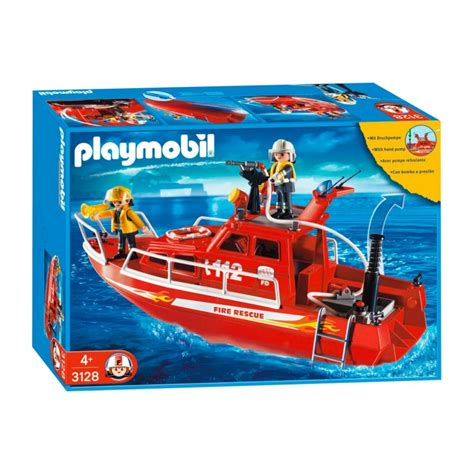 3128 boat rescue firefighters with water hose   Playmobil ...