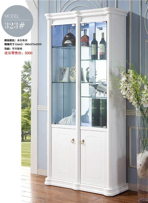323# Living room furniture white display showcase wine ...