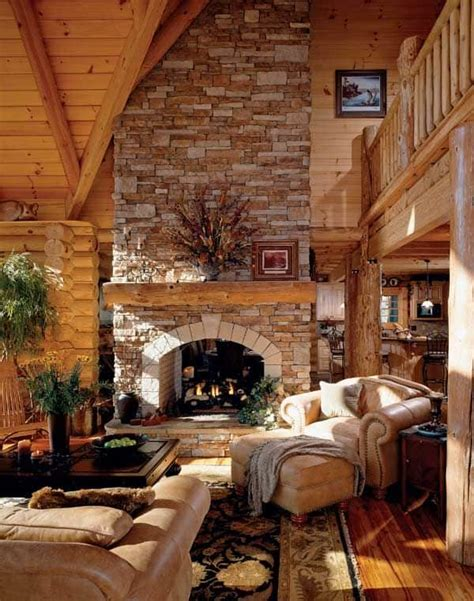 38 Rustic Country Cabins With A Stone Fireplace For A ...