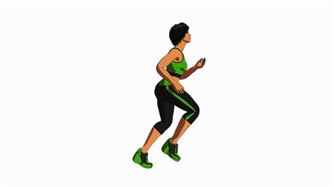 3D animation of a woman in green and black fitness gear ...