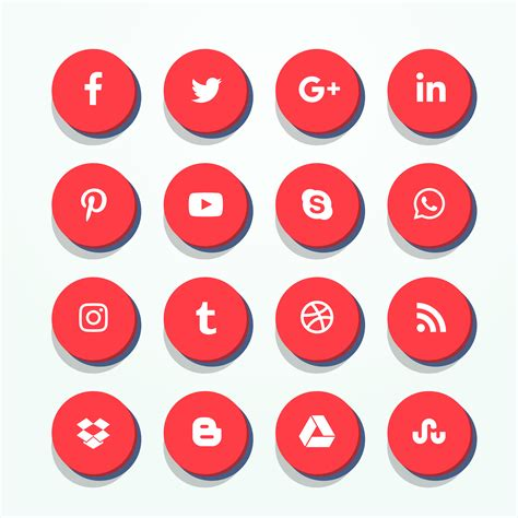 3d red social media icons pack   Download Free Vector Art ...