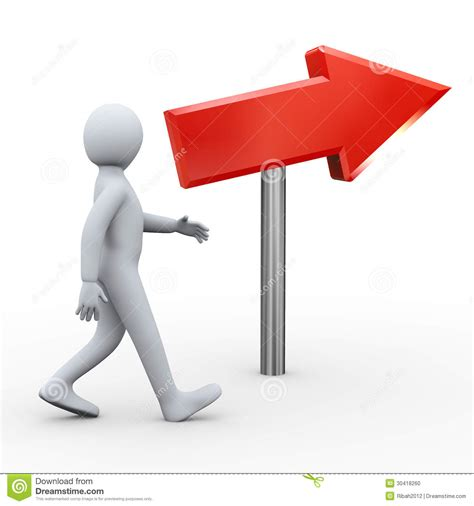 3d Walking Person And Red Arrow Stock Illustration ...