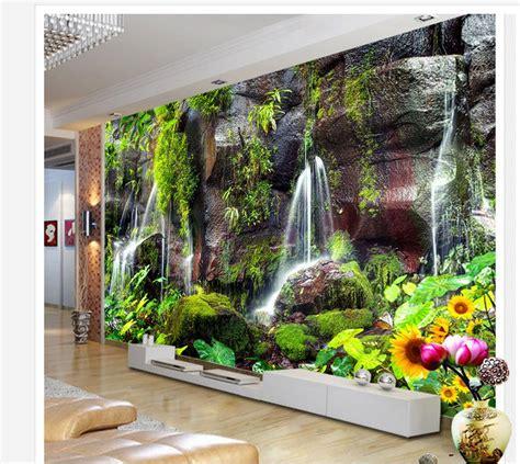 3d wall murals Mountain green water Falls TV background ...