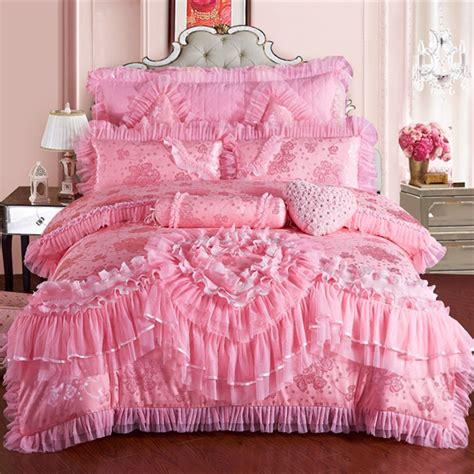 4/6/9pcs Lace heart princess wedding bedding sets queen ...