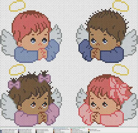 4 angelitos EN PUNTO DE CRUZ | Punto de cruz, Cross stitch ...