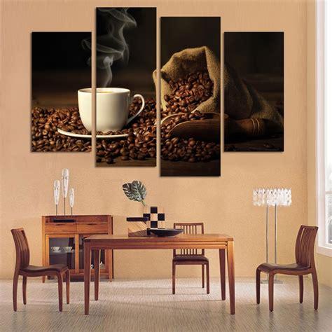4 Panels Modern Printed Coffee Canvas Art Painting modular ...