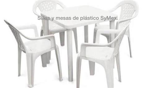 4 Silla Apilable De Plástico + 1 Mesa Cuadrada Envío ...
