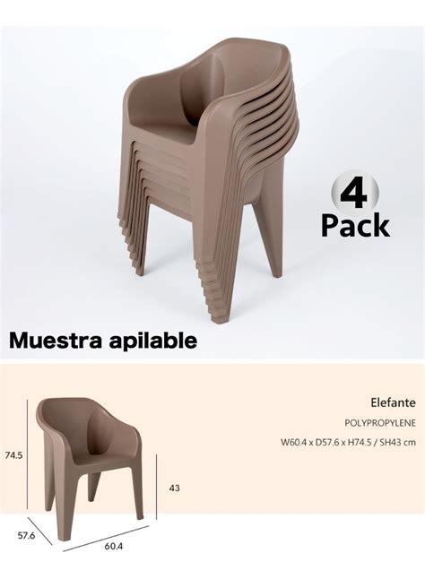 4 Sillas Plastico, Exterior Resistente Terraza Restaurante ...