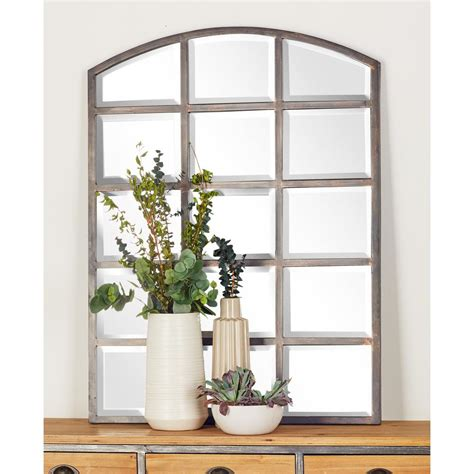 40 in. x 30 in. Arched Window Pane Inspired Mettalic Black ...