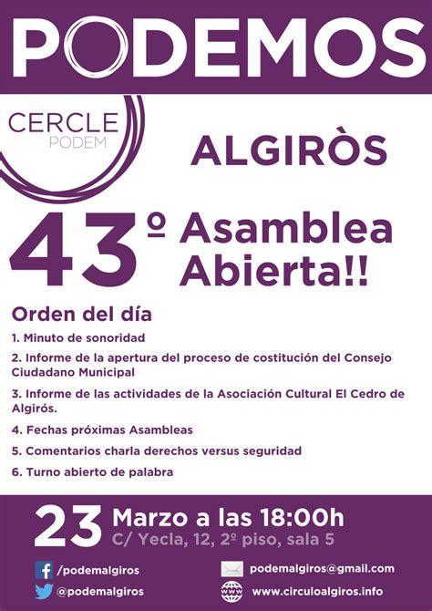 43º Asamblea 23/03/2017   Círculo Podem Algirós
