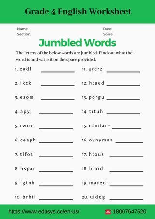 4th grade english vocabulary worksheet pdf by nithya   Issuu